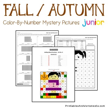 Fall/Autumn Color by Number: Place Value (K-2)