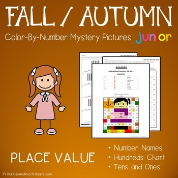 Fall Math Place Value Color by Number Code Worksheets