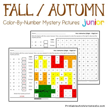 Color By Number Subtraction Fall Math First Grade, K-2 Mystery Pictures Coloring