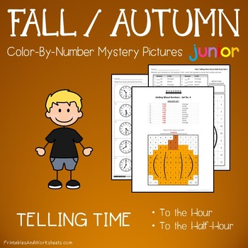 Fall Telling Time to the Half Hour / Hr Coloring Worksheets