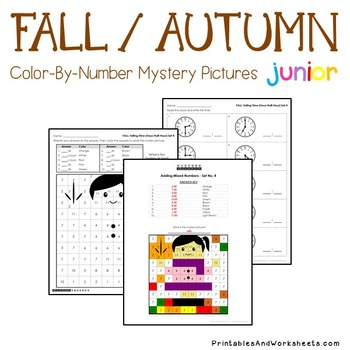 Fun Math Fall Telling Time Mystery Picture Coloring Worksheets