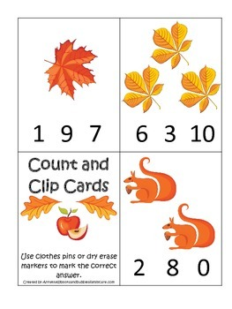 Fall Autumn Count and Clip preschool educational game.  Child care learning