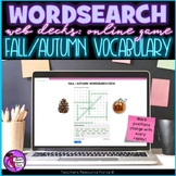 Fall / Autumn Digital Word Search online game for distance learning