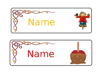 Fall/Autumn Editable Name Tags