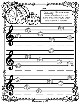 Fall/Autumn Emoji Treble Clef Lines & Spaces Review - Printable Worksheets PDF