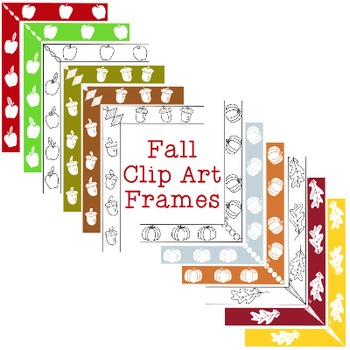 Fall Autumn Frames Clip Art PNG JPG Blackline Included Commercial or Personal