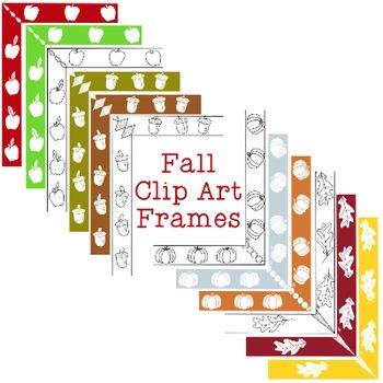 Fall Autumn Frames Clip Art PNG JPG Blackline Included Com