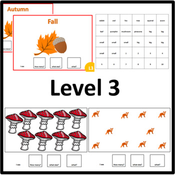 Fall/Autumn HOW MANY, WHAT SIZE, WHAT? Adapted book Level 1, Level 2 and Level 3