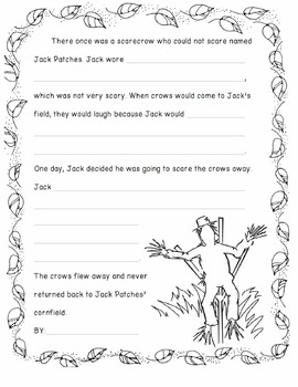 Fall Autumn Halloween Writing Activity - A SCARECROW WHO COULD NOT SCARE