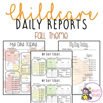 Fall/Autumn (Leaf) Themed Childcare Daily Reports  (Daycare)
