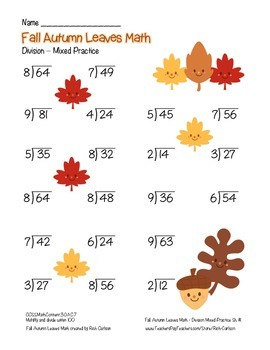 """Fall Autumn Leave Math"" Division- Common Core -  Division Fun! (color version)"