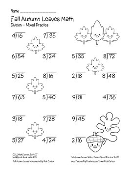 """Fall Autumn Leave Math""  - Division - Common Core - FUN! (black line and color)"