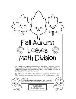 """""""Fall Autumn Leave Math"""" Division - Common Core - Fun! (black line version)"""