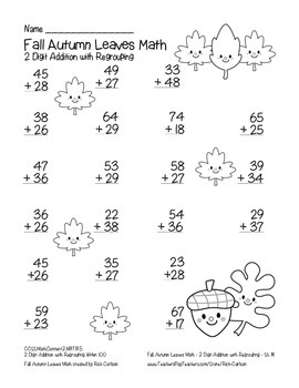 """Fall Autumn Leaves Math"" 2 Digit Addition With Regrouping - FUN! (black line)"