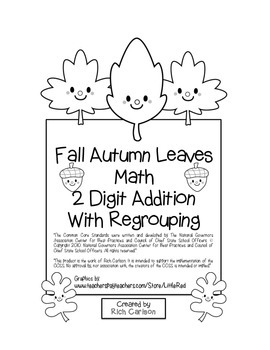 """""""Fall Autumn Leaves Math"""" 2 Digit Addition With Regrouping - FUN! (black line)"""