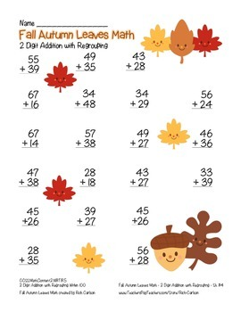 """""""Fall Autumn Leaves  Math"""" 2 Digit Addition With Regrouping (color & black line)"""