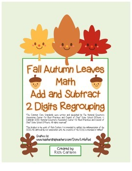 """""""Fall Autumn Leaves Math"""" 2 Digit Subtract & Add -Regrouping (color & blackline)"""