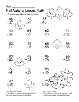 """Fall Autumn Leaves Math"" 2 Digit Subtraction & Addition Regrouping (black line)"