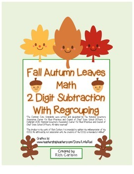 """Fall Autumn Leaves Math"" 2 Digit Subtraction - Regrouping  (color & black line)"