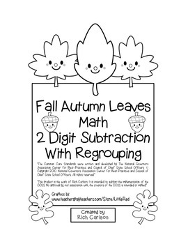 """""""Fall Autumn Leaves Math"""" 2 Digit Subtraction With Regrouping (black line)"""