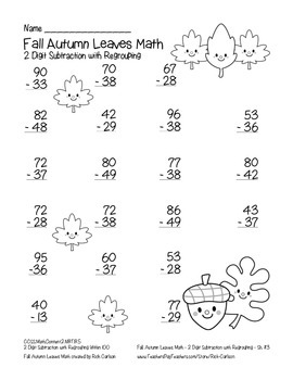 """Fall Autumn Leaves Math"" 2 Digit Subtraction With Regrouping (black line)"