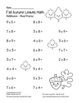 """Fall Autumn Leaves Math"" Mixed Multiplication - Common Core - FUN! (black line)"