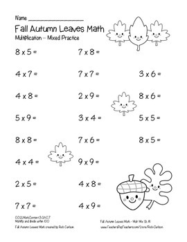 """Fall Autumn Leaves Math"" Mixed Multiplication - Common Core - FUN! (black line)"