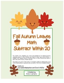 """""""Fall Autumn Leaves Math"""" Subtract Within 20 - Common Core! (blackline & color)"""
