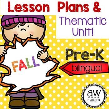 Fall Autumn Lesson Plans & Thematic Unit Pre-K, Spanish English bilingual