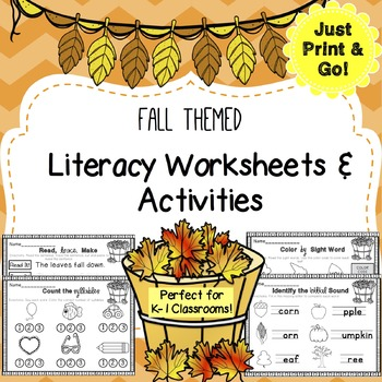 Fall / Autumn Literacy Worksheets & Activities Pack