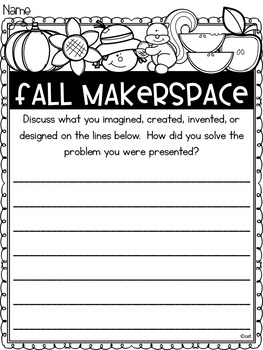 Fall Autumn Makerspace Task Cards for Primary Learners