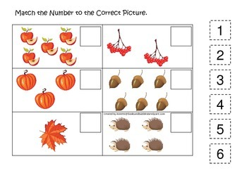 Fall Autumn Match the Number preschool educational game.