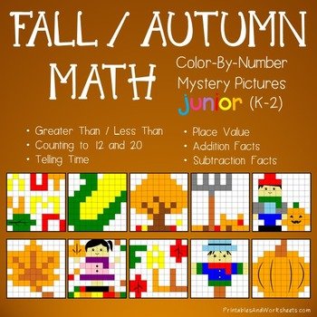 Autumn Math, Fall Color by Number Bundle (K-2)