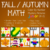 Autumn Math Worksheets, Fall Math Coloring Pages Bundle (K-2)