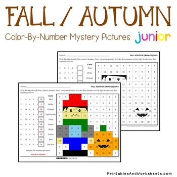 Fall Math Coloring Pages Bundle (K-2), Autumn Mystery Pictures Activity