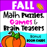 Fall Activities: Fall Math Games, Puzzles and Brain Teaser