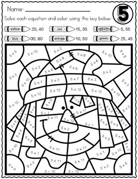 FALL MATH Multiplication Color by Number Worksheets AUTUMN ...