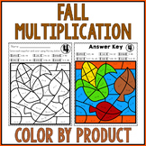 FALL MATH Multiplication Color by Number Worksheets AUTUMN MATH