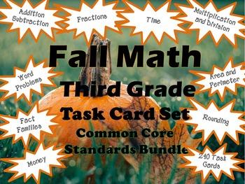 Third Grade Math Task Cards - Pumpkins