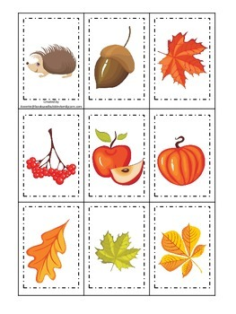 Fall Autumn Memory Matching preschool educational game.  Child care learning