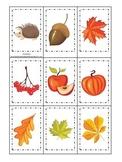 Fall Autumn Memory Matching preschool educational game.  C