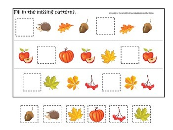 Fall Autumn Missing Pattern preschool educational game.  Child care learning
