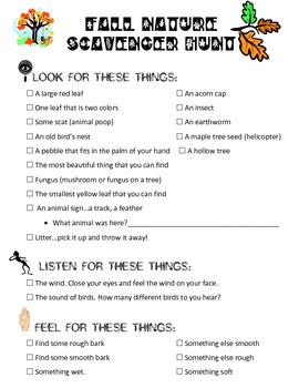 Fall/ Autumn Nature Ecology Outdoor Scavenger Hunt & Writing Assignment