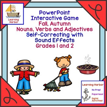 Fall Autumn Nouns Verbs and Adjectives  Self Correcting Interactive PowerPoint