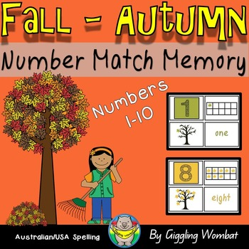 Fall Autumn Number Match Memory Cards