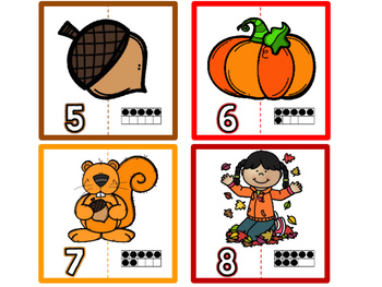 Fall/Autumn Number Matching Number Puzzles (1-20) / Fall Math Center