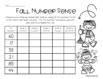 Fall / Autumn Number Sense Mental Math: 1 More, 1 Less, 5 More, 5 Less, 10 More