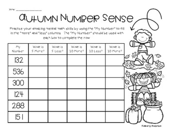 Fall / Autumn Number Sense Mental Math: 1 More, 1 Less, 5 More, 5 Less, 10 More
