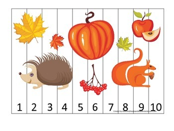 Fall Autumn Number Sequence Puzzle preschool educational game.  Child care math.