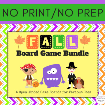 Fall Autumn Open-Ended Board Game Bundle Teletherapy Digital